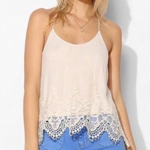 PINS AND NEEDLES LACE NET RACER BACK TANK TOP SZ S